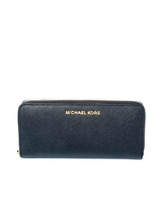 Michael Kors Black Leather Zip Around Wallet
