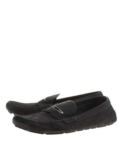 134b966864c ... Louis Vuitton - Blue Dark Damier Embossed Suede Shade Penny Loafers for  Men - Lyst ...