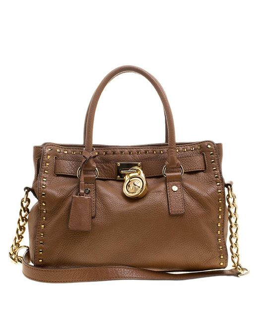 MICHAEL Michael Kors - Brown Leather East west Hamilton Satchel - Lyst ... b2df811a6785f