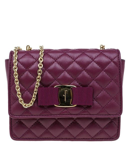 Ferragamo - Purple Quilted Leather Ginny Shoulder Bag - Lyst