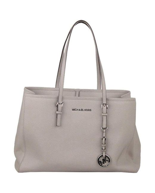 902efd32c68f8b MICHAEL Michael Kors - Gray Saffiano Leather Jet Set Travel Tote - Lyst ...