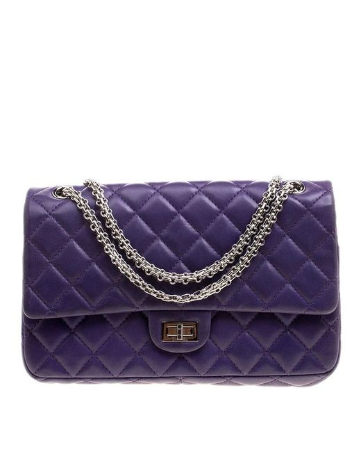 99341463ef6a23 Chanel - Purple Quilted Leather Reissue 2.55 Classic 226 Flap Bag - Lyst ...