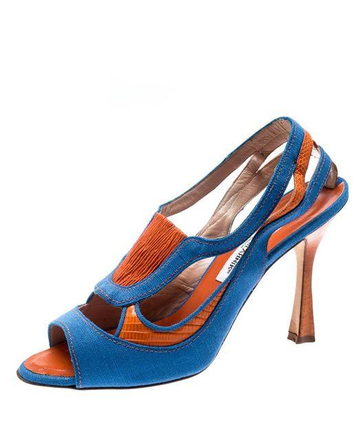 Manolo Blahnik Blue Canvas And Orange Lizard Leather Antezza Peep Toe Sandals Size 39.5