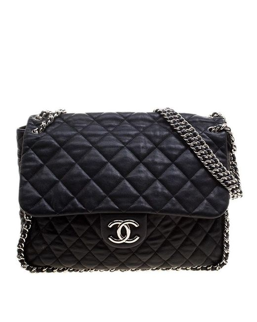 Chanel - Black Leather Maxi Chain Around Flap Shoulder Bag - Lyst