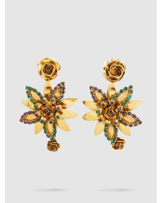 Erickson Beamon | Metallic Emerald + Crystal Flower Earrings | Lyst