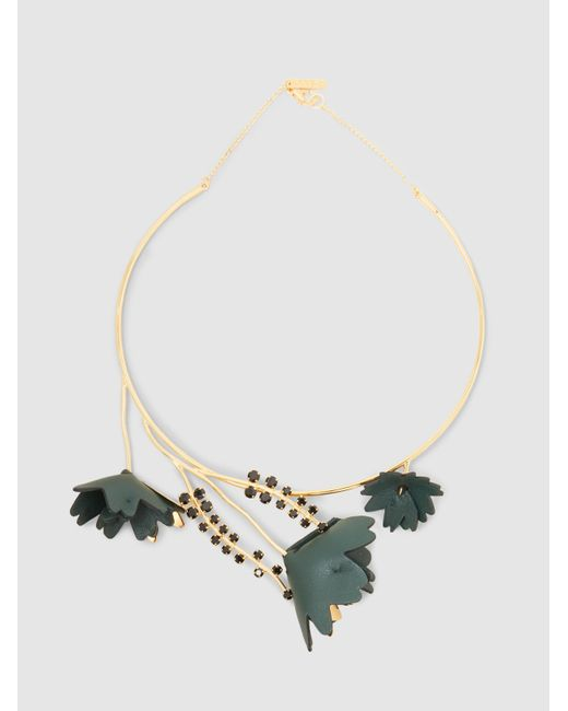 Marni | Metallic Gold Tone Collar Necklace With Crystal And Leather Flower Detail | Lyst