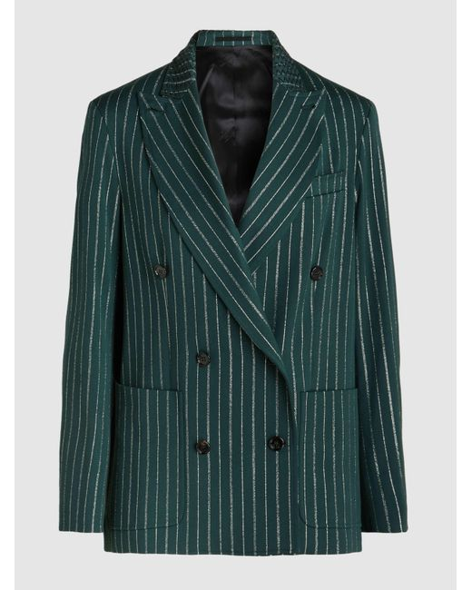Golden Goose Deluxe Brand - Green Vedrette Metallic Pinstripe Wool Blazer - Lyst