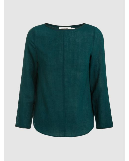 Cefinn - Green Boat Neck Top With Contrast Piping - Lyst