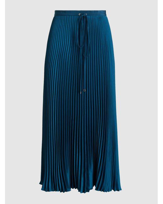 4ed3729074 Tibi - Blue Mendini Pleated Twill Midi Skirt - Lyst ...