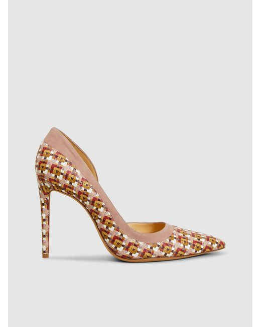 Alexandre Birman Natural Wavee Heeled Raffia And Suede Pumps