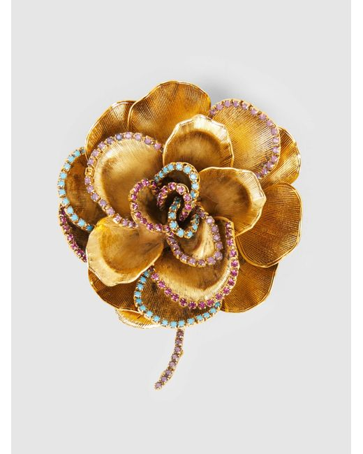 Erickson Beamon | Metallic Crystal Flower Brooch | Lyst