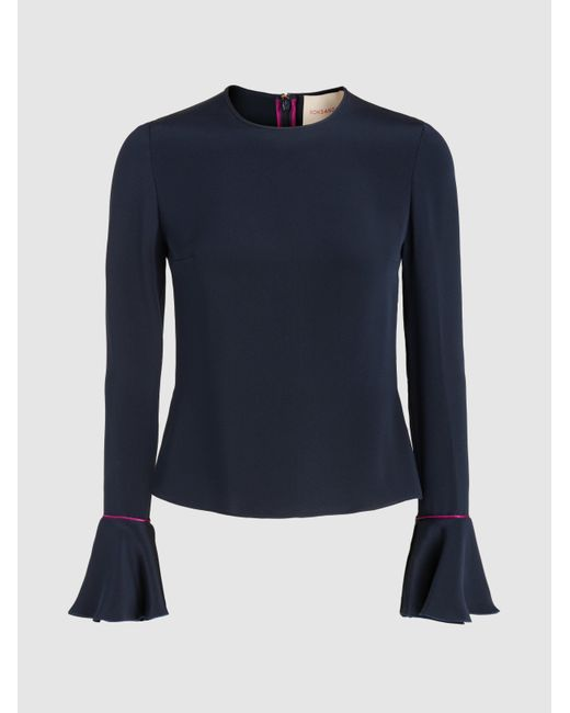 Roksanda - Blue Saba Silk Blouse With Ruffled Cuffs - Lyst