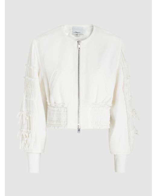3.1 Phillip Lim - White Shirred Sleeve Bomber Jacket - Lyst