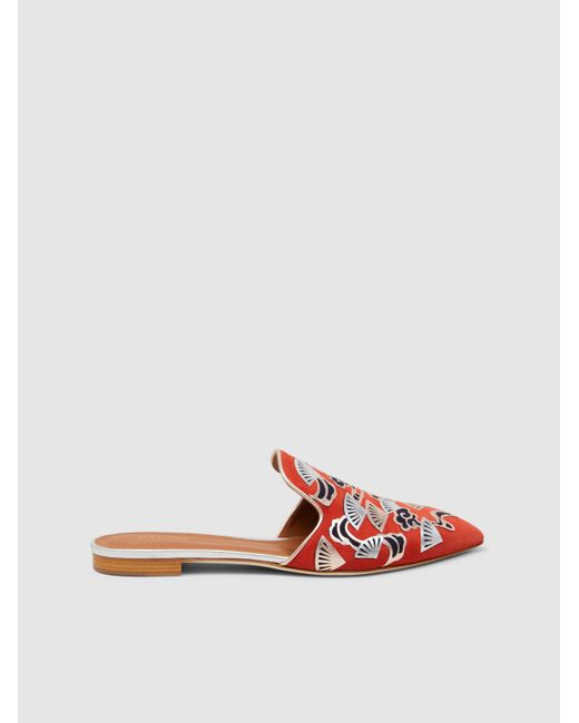 Malone Souliers - Orange Marianne Foil-printed Suede Slippers - Lyst