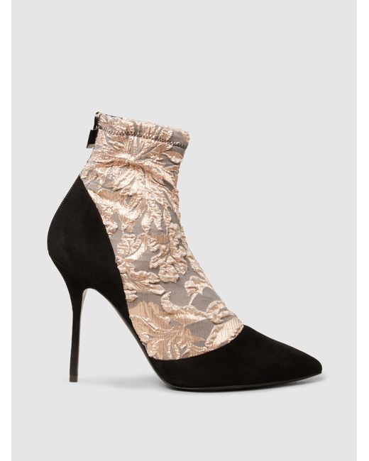 Pierre Hardy - Multicolor Lace And Suede Ankle Boots - Lyst