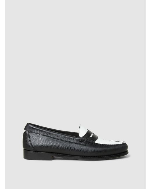 Re/done - Black The Whitney Two-tone Leather Loafers - Lyst
