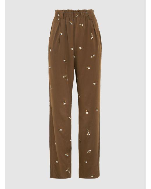Rays Printed Stretch-Silk Trousers Stine Goya 0ApLv4Jb