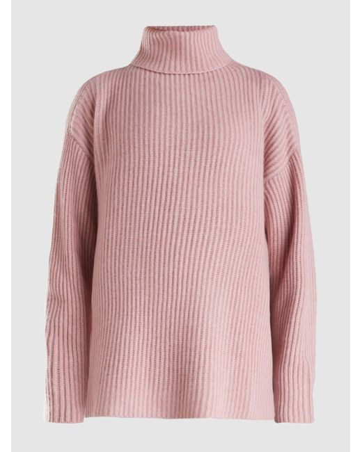 Le Kasha - Pink Lisbon Oversized Roll Neck Cashmere Sweater - Lyst