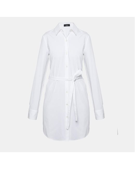 Theory - White Crepe Belted Trench Coat - Lyst