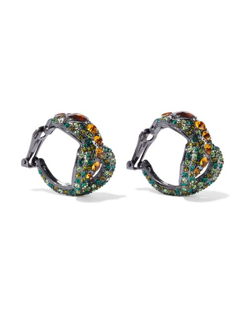 Kenneth Jay Lane - Woman Gunmetal-tone Crystal Clip Earrings Green - Lyst