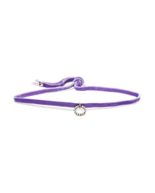 DANNIJO - Purple Vix Oxidized Silver-tone Crystal And Velvet Choker - Lyst