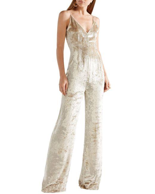 90f5464ee7c ... Gabriela Hearst - Natural Woman Catherine Herringbone Velvet Jumpsuit  Ecru - Lyst ...
