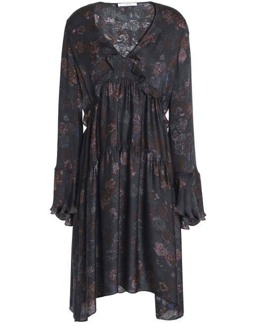 b4f36ab8a2 IRO - Black Woman Ciclone Gathered Floral-print Silk Crepe De Chine Dress  Charcoal ...