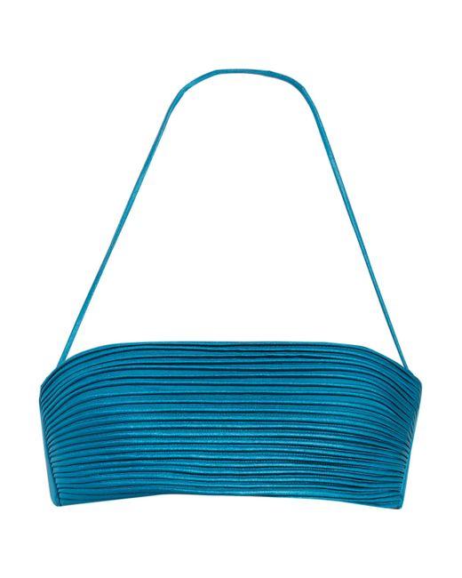 La Perla | Blue Ribbed Stretch-satin Bandeau Bikini Top | Lyst