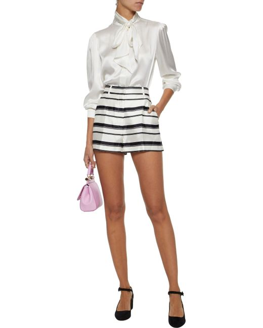 b3fca299 ... Dolce & Gabbana - White Woman Striped Silk-satin Twill Shorts Ivory ...