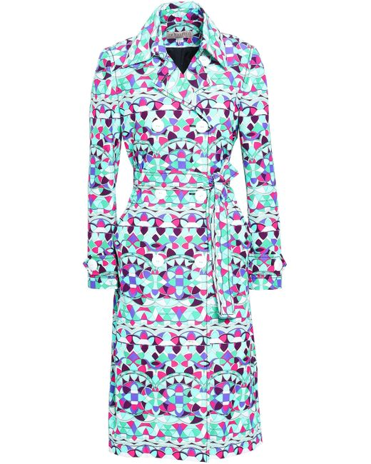 Emilio Pucci - Blue Double-breasted Printed Cotton-blend Trench Coat Multicolor - Lyst