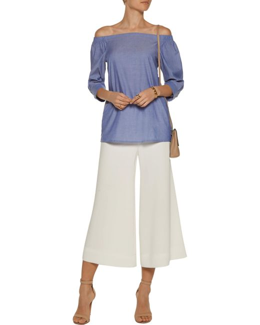 0cd5712de90 ... Theory - Woman Joscla Off-the-shoulder Cotton Top Blue - Lyst ...