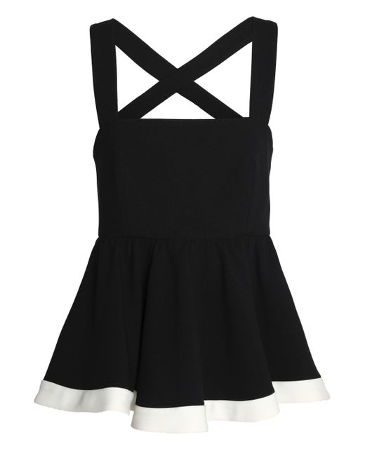 MILLY - Black Riley Two-tone Cady Peplum Top - Lyst