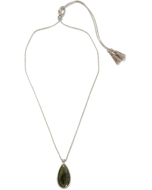 Chan Luu | Green Silver-tone Tasseled Cord And Stone Necklace | Lyst