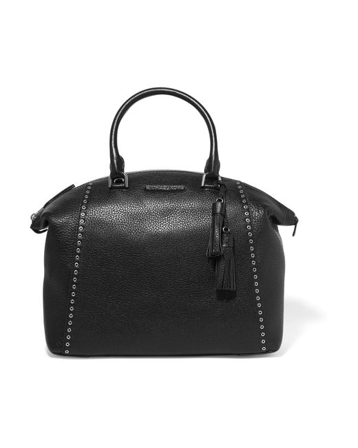 MICHAEL Michael Kors | Black Riley Embellished Textured-leather Tote | Lyst