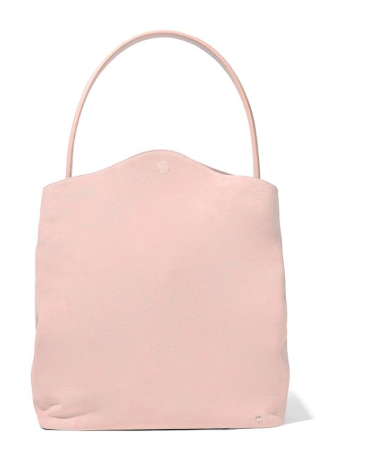 Halston Heritage - Glossed Leather-trimmed Suede Tote Pastel Pink - Lyst