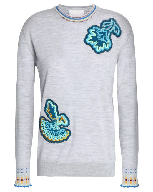 Peter Pilotto - Gray Appliquéd Wool Sweater - Lyst