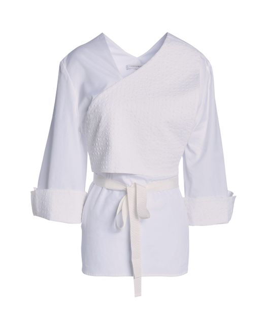 Christopher Esber - White Cropped Stretch-cotton Cloqué Top - Lyst