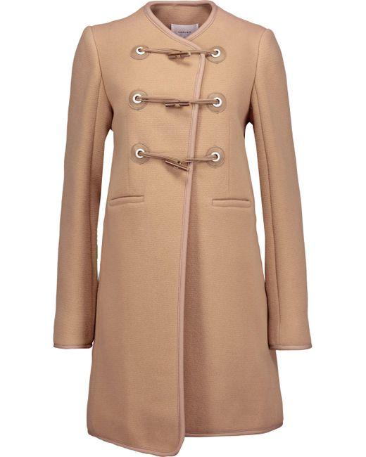 Carven - Natural Faux Leather-trimmed Wool-blend Felt Coat - Lyst