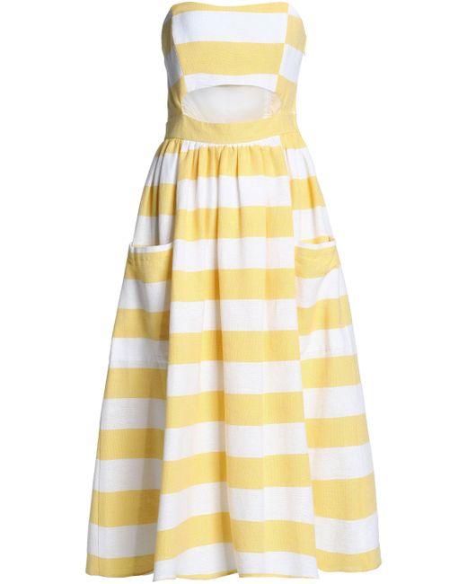 Mara Hoffman - Yellow Cutout Striped Cotton-canvas Midi Dress - Lyst