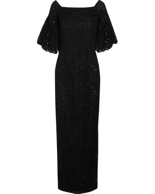 Merchant Archive | Black Off-the-shoulder Cotton-blend Corded Lace Maxi Dress | Lyst