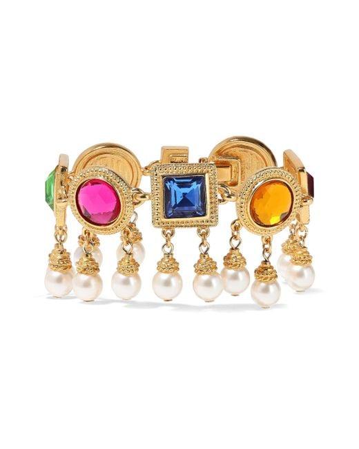 Ben-Amun - Metallic 24-karat Gold-plated, Crystal And Faux Pearl Bracelet - Lyst