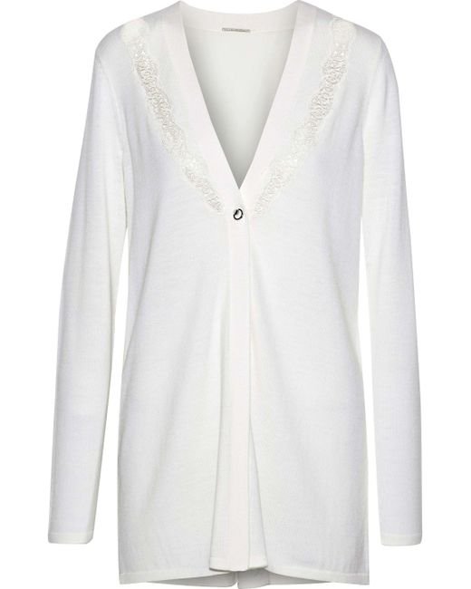 Elie Tahari - White Amber Lace And Crepe-paneled Merino Wool Cardigan - Lyst