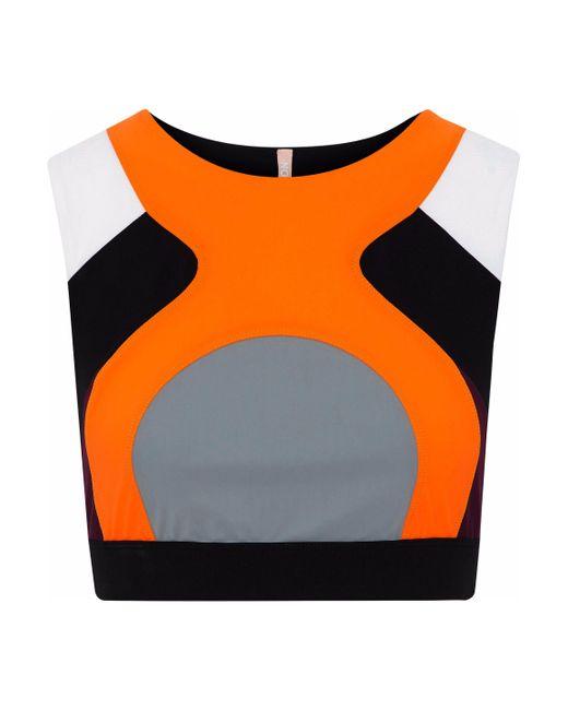 No Ka 'oi - Woman Lani Color-block Scuba Sports Bra Orange - Lyst