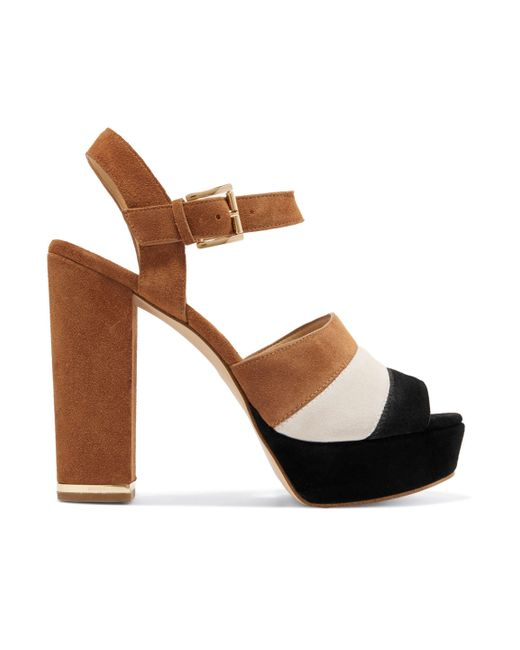 504fe17a2 MICHAEL Michael Kors - Color-block Suede Platform Sandals Light Brown - Lyst  ...