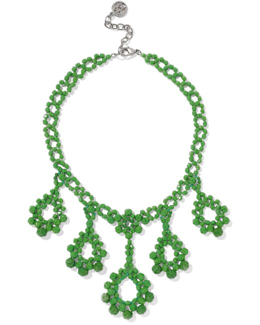 Ben-Amun - Woman Beaded Silver-tone Necklace Green - Lyst