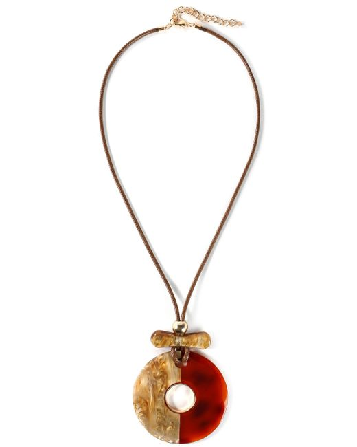 Kenneth Jay Lane - Brown Gold-tone, Cord And Resin Necklace - Lyst