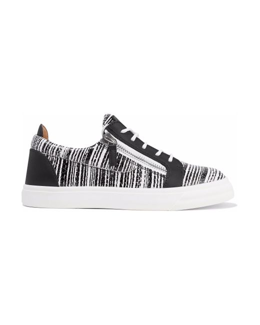 Giuseppe Zanotti - Black London Printed Smooth And Snake-effect Leather Sneakers - Lyst