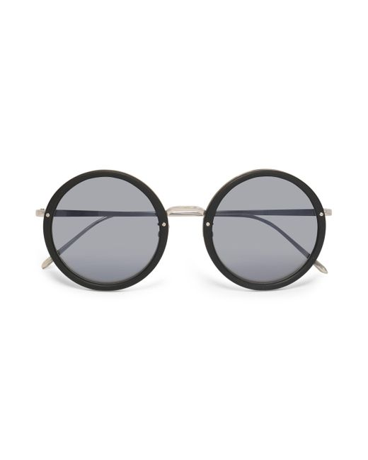Linda Farrow - Black Acetate And Silver-tone Tinted Round-frame Sunglasses - Lyst
