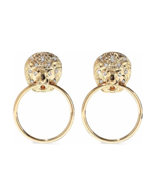 Kenneth Jay Lane - Metallic Gold-tone Crystal Hoop Earrings - Lyst
