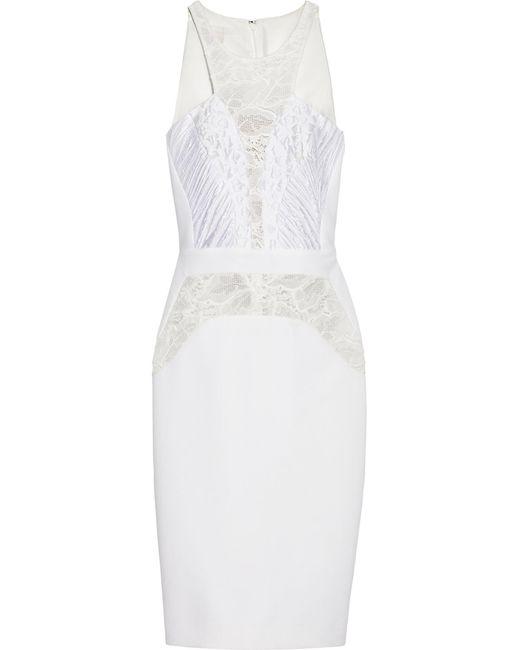 Antonio Berardi | White Lace And Jacquard-paneled Stretch-crepe Dress | Lyst